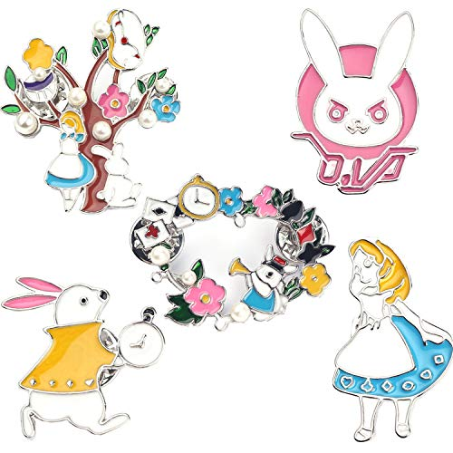FSMILING Cute Fairytale Enamel Pin Set Alice in Wonderland Badge Brooches Lapel Pins for Girls Clothes Decoration Backpacks
