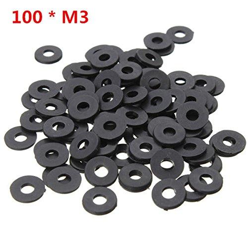 100 pcs Black Flat Nylon Washer for M3 Screws, OD 8mm ID 3mm T 1mm