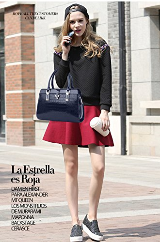 Nicole women leather shell shoulder amp;Doris bag portable new patent Navy fashion Messenger handbags ladies for rrq1O