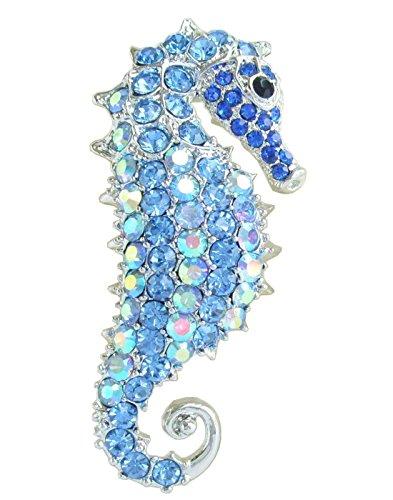 Tone Seahorse Brooch Pin Pendant Blue Rhinestone Crystal ()