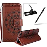 Rope Leather Case for iPhone 7 Plus,Strap Wallet Case for iPhone 7 Plus,Herzzer Bookstyle Classic Elegant Mandala Flower Pattern Stand Magnetic Smart Leather Case with Soft Inner for iPhone 7 Plus 5.5 inch + 1 x Free Black Cellphone Kickstand + 1 x Free Black Stylus Pen - Brown