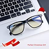 Computer Glasses Blue Light Blocking Glasses[Better Sleep]Shileded Anti Blue Light Glasses,Anti Glare Reading/Gaming Glasses for Men and Women(Black)