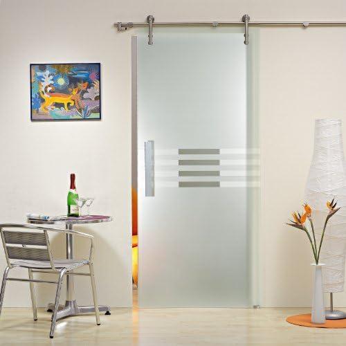 Puertas correderas de cristal ST 992 - 900 x 2050 x 8 mm DIN derecha, 8 mm el vidrio de seguridad, claro con la decoración, barras de sujeción y el sistema de