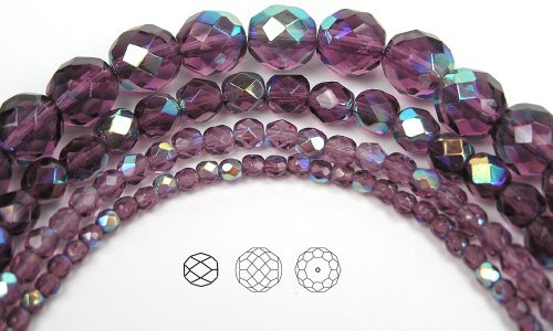 Amethyst Firepolish Round Beads - 4mm (102) Amethyst AB coated, Czech Fire Polished Round Faceted Glass Beads, 16 inch strand