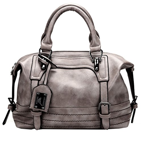 Medium Grey Leather (Juilletru Grey Women Tote Bags PU Leather Handbags Top Handle Vintage Purse Crossbody Shoulder Bag)