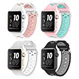 Band for Apple Watch, Alritz Silicone Sport Straps Replacement Wristband Bracelet for Apple Watch Series 3/Series 2/Series 1/Nike+, Free Protective Case Included (4 Pack # 1, 38mm)