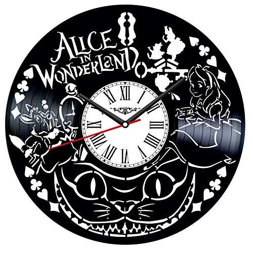 Alice in Wonderland Vinyl Record Wall Clock Poster – Vintage Home Decor Kitchen Bedroom Living Room Kids Room – Unique…
