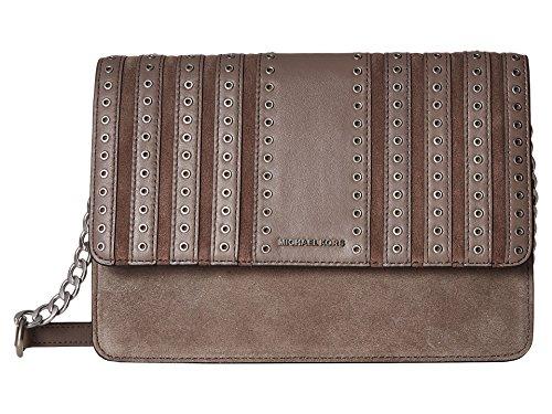 Michael Kors grey crossbody bag | MICHAEL Michael Kors Womens Brooklyn Suede Leather Crossbody Handbag Gray Large