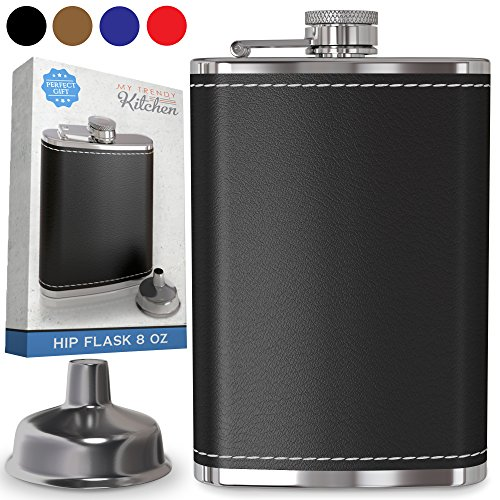 Flask for Liquor and Funnel - 8 Oz Leak Proof 18/8 Stainless Steel Pocket Hip Flask with Black Leather Cover for Discrete Shot Drinking of Whiskey, Rum and Vodka | Gift for (Black Bottle Whisky)