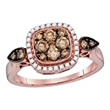 14kt oro rosa Womens Ronda cognac-brown Colored Diamond–Macetero cuadrado de Cluster novia boda anillo de compromiso 5/8quilates