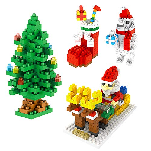 (Christmas Building Kits Toy Gifts for Kids Mini Building Blocks Set of Christmas Tree, Santa Claus, Christmas Sock, Snowman(4 Sets))