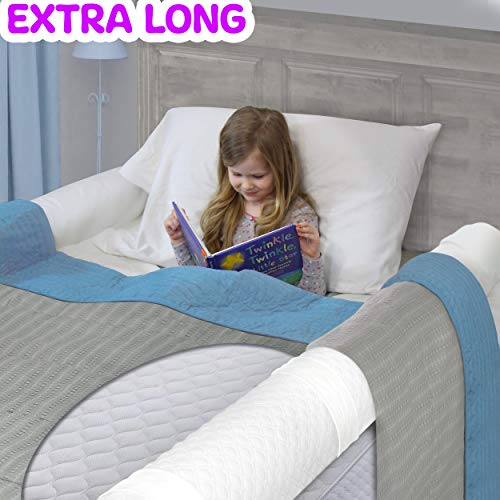 (2-Pack) Extra Long Bed Rails for Toddlers | Soft Foam Bed Bumper for Kids | Baby Bed Guard | Child Bed Safety Side Rails | Designed to fit Twin, Full, Queen & Kind Size Beds