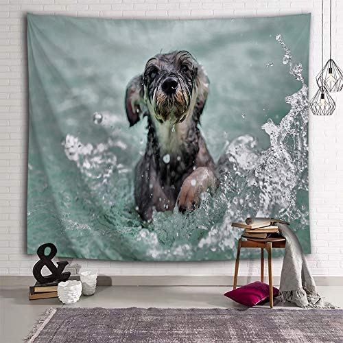 DEQI Dog Playing with Water Tapestry Schnauzer Animal Wall Hanging 3D Print Wall Tapestry for Kids Livingroom Bedroom Home Dorm Decor W78 x L59