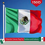 G128 Mexico Mexican Flag 150D Quality Polyester 3x5 ft Printed Brass Grommets Flag Indoor/Outdoor - Much Thicker and More Durable than 100D and 75D Polyester