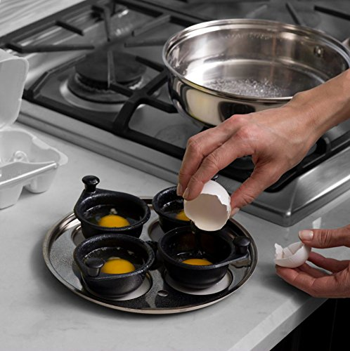 Modern Egg Poacher Pan Set Cups, Pan, Silicone Handle, Lid, Insert and Spatula