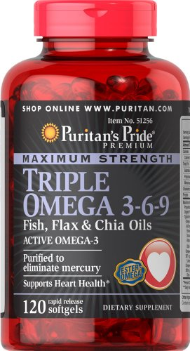 Puritan 39 s pride maximum strength triple omega 3 6 9 fish for Flaxseed oil or fish oil