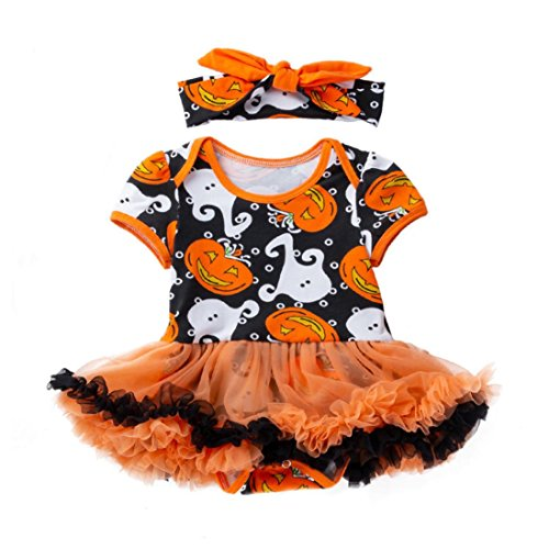 Fiaya Halloween Costume Infant Toddler Baby Girls Pumpkin Bow Party Tutu Princess Dress up with Headband for NB-18M (Yellow, 0-3 Months)]()