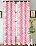 1 Set Light Pink White 108'' Geometric Lined Blackout Grommet Window Curtain