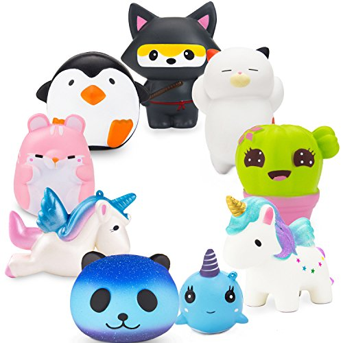 R ? HORSE Jumbo Cute Penguin, Hamster, Ninja Fox Set Kawaii Cream Scented Squishies Slow Rising Decompression Squeeze Toys for Kids or Stress Relief Toy Hop Props, Decorative Props Large (9 Pack)