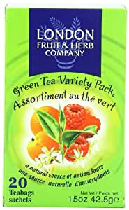 London Fruit & Herb Company Green Tea, Variety Pack, 20 Count