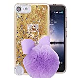 Case for ipod Touch 6,Fluffy Pom-pom Ball Sparkle Liquid Glitter Quicksand Dynamic Moving Stars Transparent Plastic Case for Apple ipod Touch 5/ipod Touch 6(Golden)