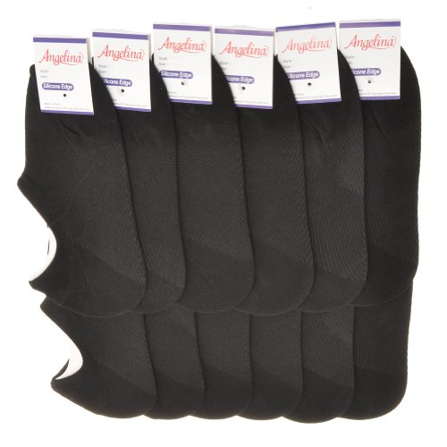 Swan Women's Angelinacotton No-Show Socks With Heel Silicon Grip (12 Pair)