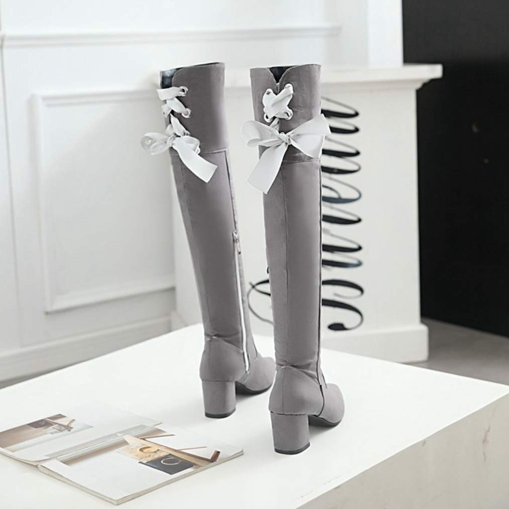 Fashion Solid Color Lace Thick Heel Pointed Toe Over The Knee Boots Sam Carle Women Boots