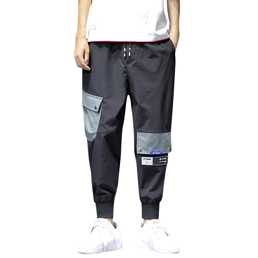Men's Plus Size Pants Casual Pure Color Elastic Waist Drawstring Lightweight Comfort Stretch Pant with Multi-Pocket Overalls Black