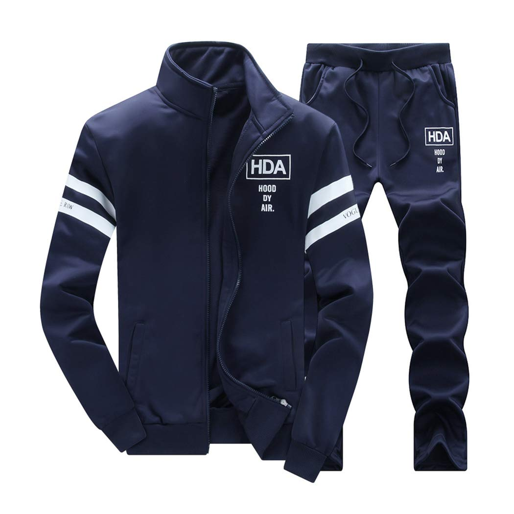 Men's 2 Two Piece Outfits Casual Track Suit Jacket+ Pants Jogger Set Dark Blue by xzbailisha