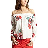 Cacharel Off The Shoulder Floral Top 54188 White Women Spring/Summer Collection