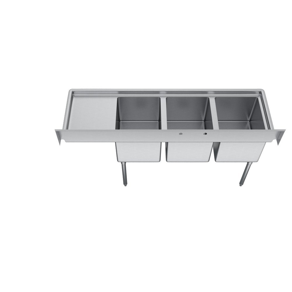 E-Series 3-Compartment Sink, 18'' right drainboard by Elkay (Image #2)