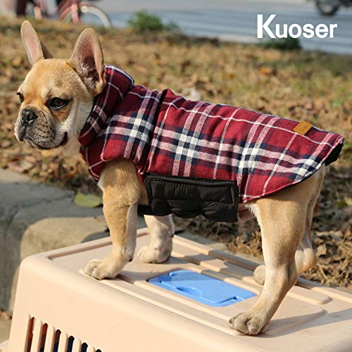 Kuoser Dog Coats Dog Jackets Waterproof Coats for Dogs Windproof Cold Weather Coats Small Medium Large Dog Clothes Reversible British Style Plaid Dog Sweaters Pets Apparel Winter Vest for Dog Red M