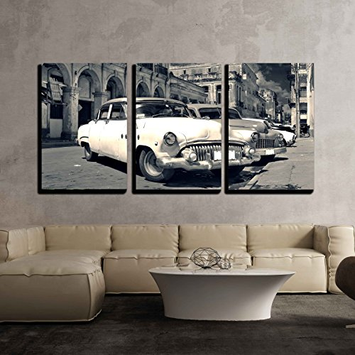 Classic Home Decor (wall26 - 3 Piece Canvas Wall Art - Panoramic View of Shabby Old Havana Street with Vintage Classic American Cars - Modern Home Decor Stretched and Framed Ready to Hang - 16