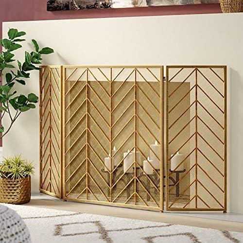 暖炉スクリーン MYL 単一のパネル手作りメッシュシェブロン暖炉スクリーン、錬鉄火スクリーンスパークガードW/ユーズドアンティークゴールド仕上げ (Color : Gold)