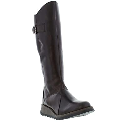 cf8c164fc5ed1 Amazon.com   FLY London MOL 2 Dark Brown Leather Womens Knee Hi ...