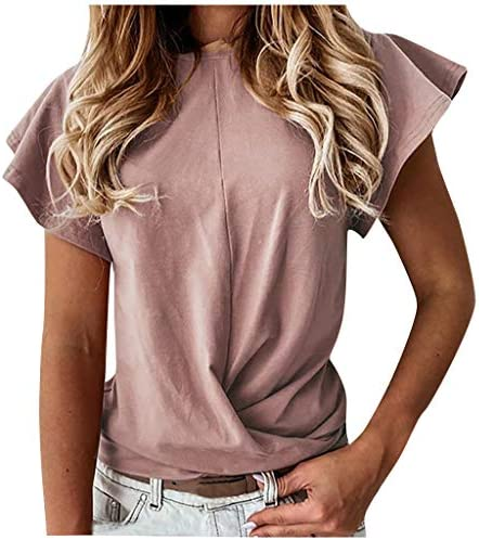 Eoeth Fashion Women Casual Solid Ruffles Short Sleeves O-Neck T-Shirt Blouse Bottoming Tops Shirts Pullover Tracksuits