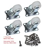 "Cofufu 4 Pcs 1"" Plastic Wheel Rectangle Top Plate Fixed Swivel Caster Set"