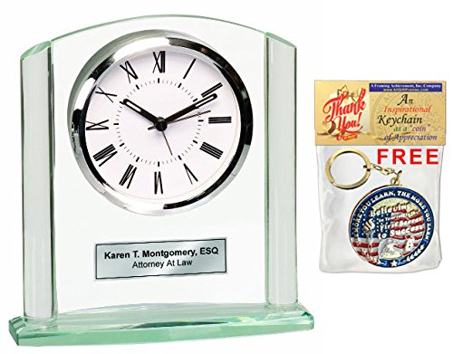 (Engraved Glass Clock Silver Basel Arch Silver Etching Retirement Appreciation Anniversary Service Award Recognition Wedding Graduation Table Clock)