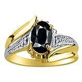 Womens Onyx & Diamond Ring 14K Yellow Gold