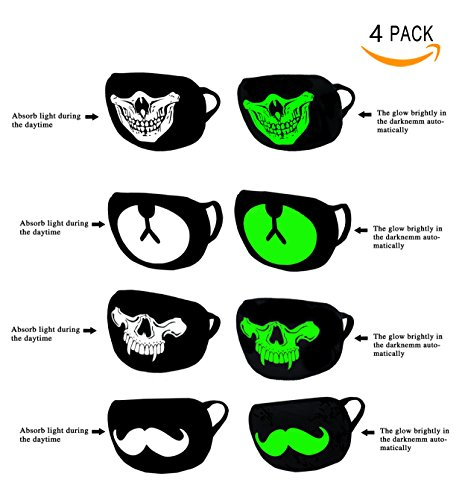 Bestsupplier 4 PACK Cool Luminous Unisex Cotton Blend Anti Dust Face Mouth Mask Black for Man Woman