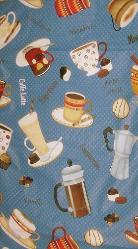 Coffee Cups Words Theme Vinyl Tablecloth with Flannel Back (52x70 Inch Oblong) (Coffee Theme)
