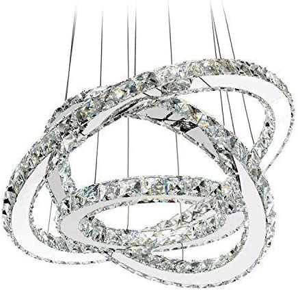 MEEROSEE LED Crystal Chandelier Lighting Ceiling Lights Fixture Contemporary Adjustable Stainless Steel 3 Rings Light