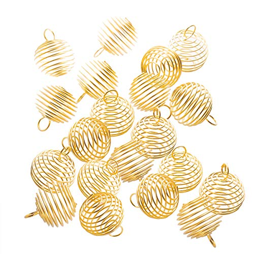 20PCS Golden Spiral Bead Cages Locket Pendants Jewelry Making Beads,15X14MM - Gold Spiral Bead