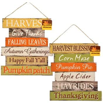 Fall Decoration Hanging Indoor Outdoor Welcome Wood Sign - Thanksgiving and Harvest Blessings - Set of 2