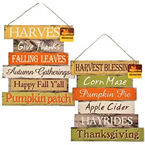 Greenbrier Fall Decoration Hanging Indoor Outdoor Welcome Wood Sign – Thanksgiving and Harvest Blessings – Set of 2
