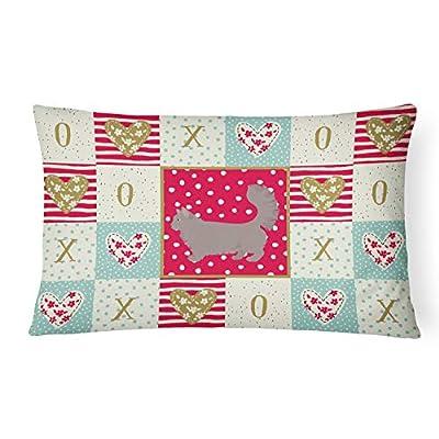 Caroline's Treasures CK5712PW1216 Skookum #2 Cat Love Canvas Fabric Decorative Pillow, 12H x16W, Multicolor : Garden & Outdoor