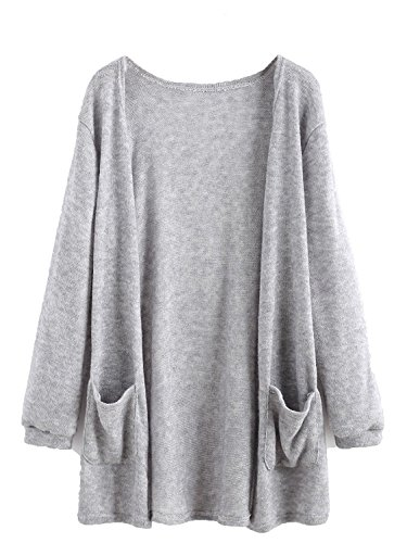 Milumia Women's Elastic Cuff Cardigan With Pockets X-Large a-Grey
