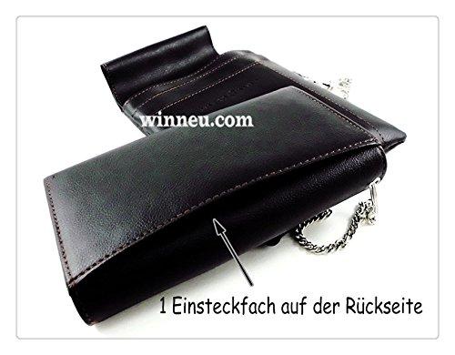 Winneu Kellnerbörse Kellnertasche Kellner Börse Tasche Geldbörse mit Kette + Holster