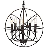 Industrial Vintage Lighting Ceiling Chandelier 5 Lights Metal Hanging Fixture