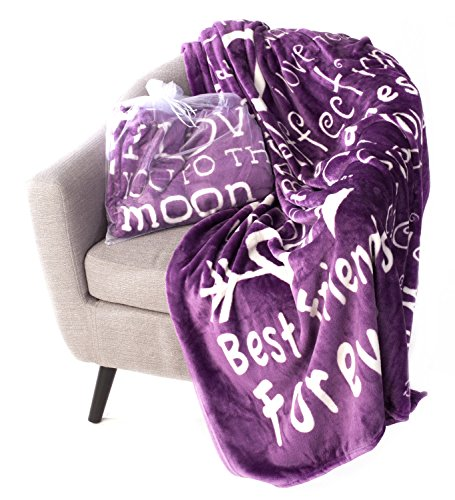 Blankiegram I love You Throw Blanket  The Perfect Caring Gift for Best Friends, Couples & Family, Purple, 50' x 60'